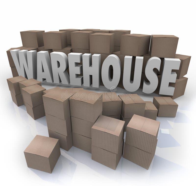 Lagret boxas lagring för inventariumledning stock illustrationer