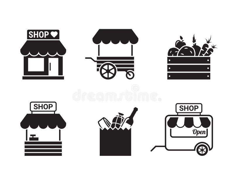 Lagret shoppar eller marknadsför symbolen royaltyfri illustrationer