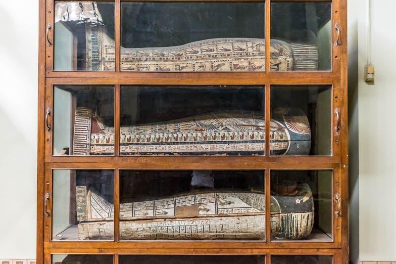 Lagring av forntida egyptiska sarkofag i museet arkivbild