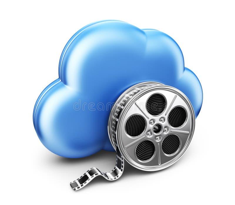 Lagringsfilmfilm i moln. symbol 3D  vektor illustrationer