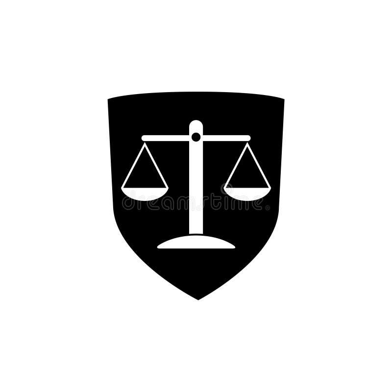 Lagsköldsymbol, skyddssköld med symbolen för rättvisavågskåra royaltyfri illustrationer