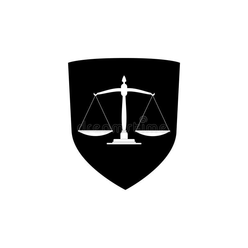 Lagsköldsymbol, skyddssköld med symbolen för rättvisavågskåra vektor illustrationer