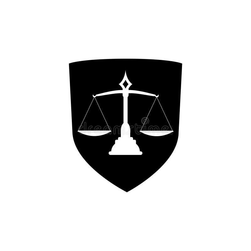 Lagsköldsymbol, skyddssköld med symbolen för rättvisavågskåra stock illustrationer