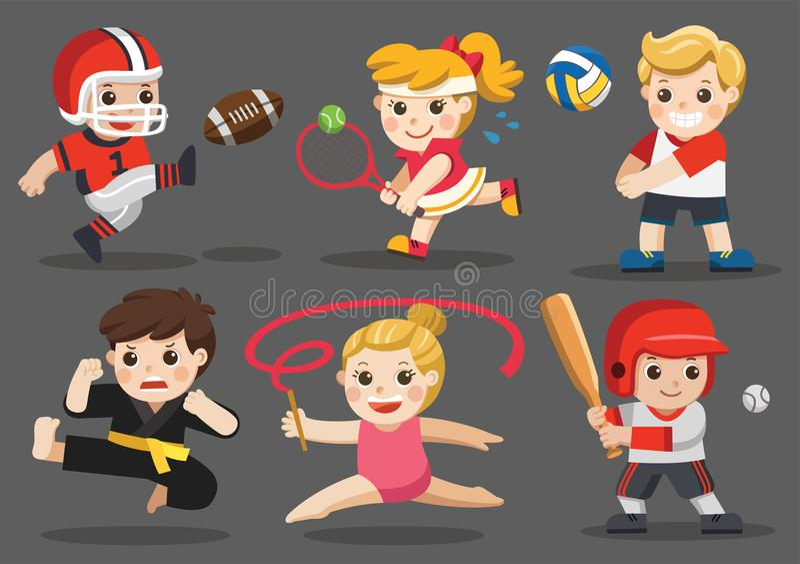 Lagsportar för ungar vektor illustrationer