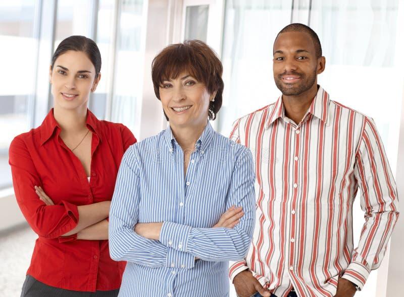 Lagstående av lyckliga affärskontorsarbetare royaltyfria bilder