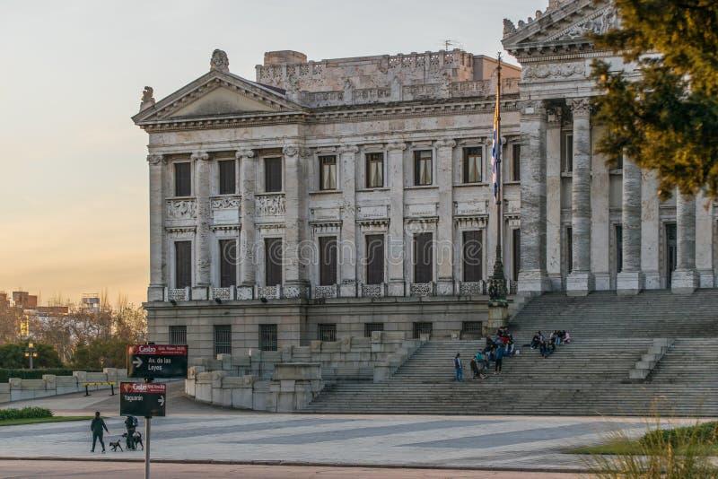 Lagstiftnings- slott av Uruguay i Montevideo arkivbilder