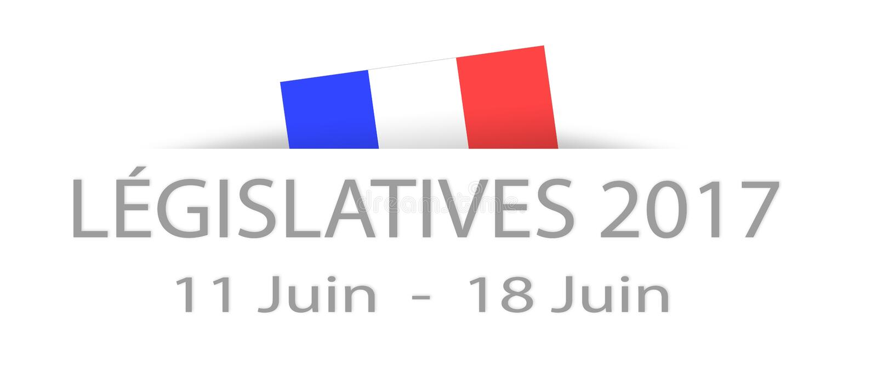 Lagstiftnings- val 2017 i franskt med data och en delhidde stock illustrationer