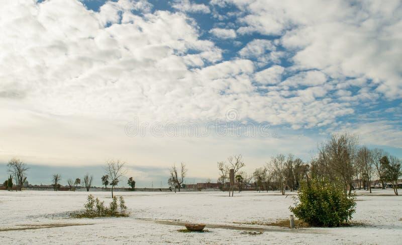 Lagun av Venedig i vinter fotografering för bildbyråer