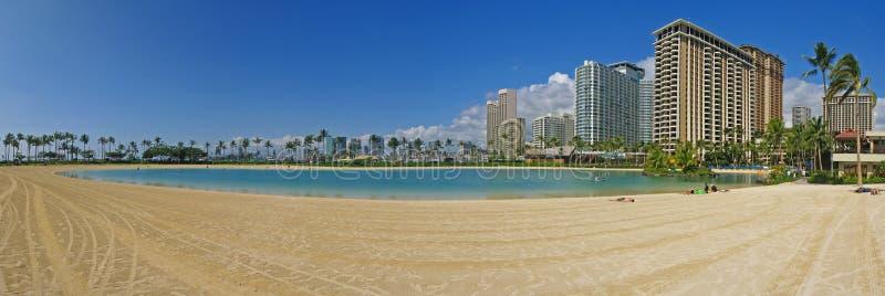 Laguna al viallage hawaiano del hilton in Hawai immagini stock libere da diritti