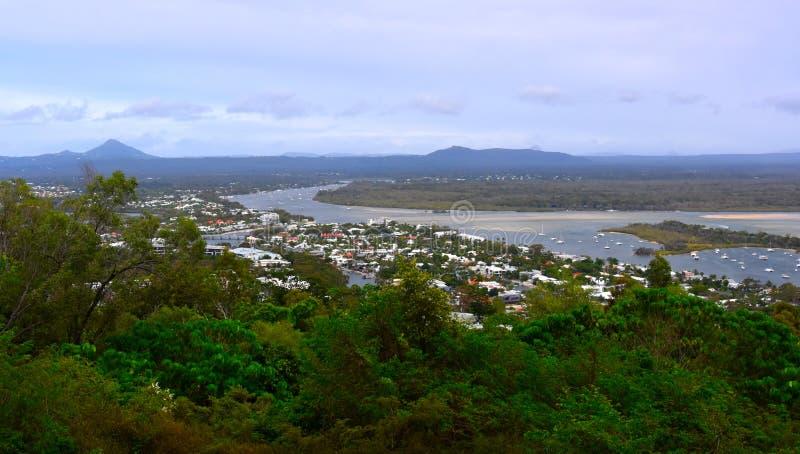 Laguna-Ausblick bietet szenische Ansichten über Noosa an stockbilder
