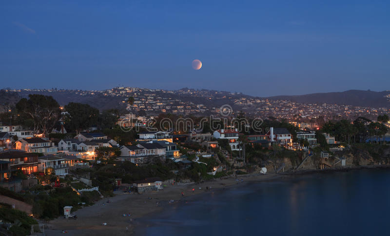 Laguna Beach, California Crescent Bay view of the blood moon. September 27, 2015. Laguna Beach, California Crescent Bay view of the blood moon. This full moon stock image