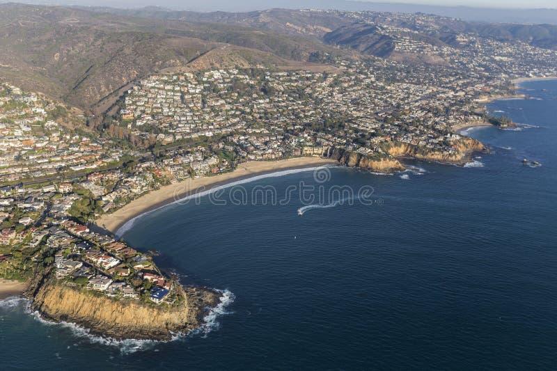 Laguna Beach Emerald Bay Cove Aerial View stockfotografie