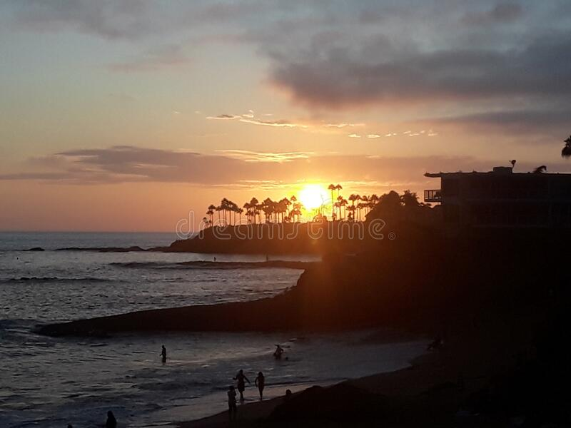 Laguna Beach far off Sunset royalty free stock image