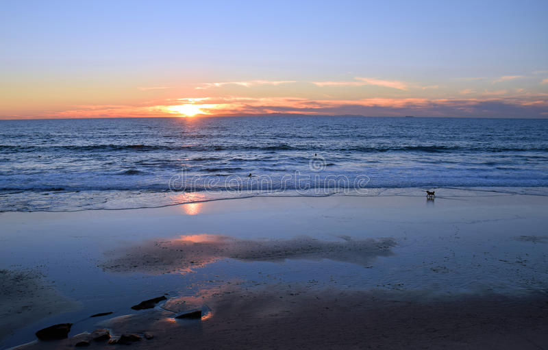 Laguna Beachkustlijn bij zonsondergang en eb stock afbeelding