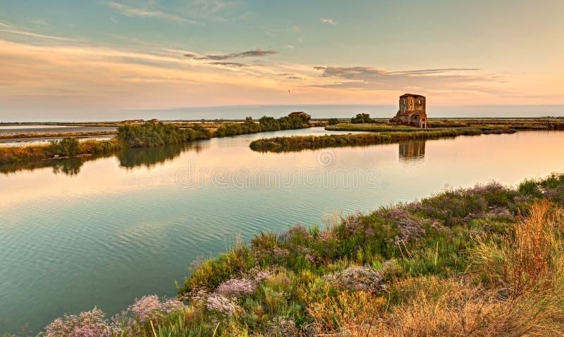 Laguna Comacchio, Włochy zdjęcia royalty free