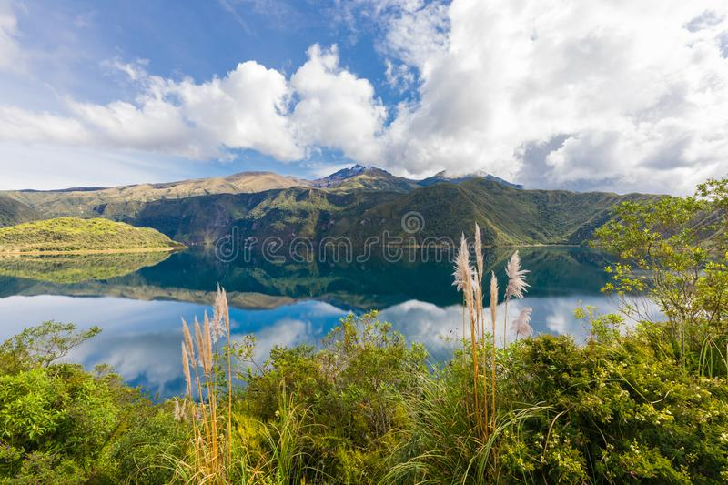 Laguna of Cuicocha and Cotacachi volcan Ecuador. Laguna of Cuicocha and Cotacachi volcan in a sunny day royalty free stock photos