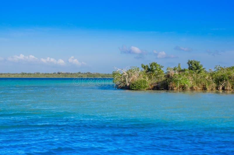 Laguna DE Bacalar Lagoon in Mayan Mexico bij Quintana-roo, zeven kleurt meer royalty-vrije stock foto's