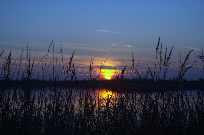 Laguna de la opinión de la puesta del sol de Patok, Albania fotografía de archivo libre de regalías