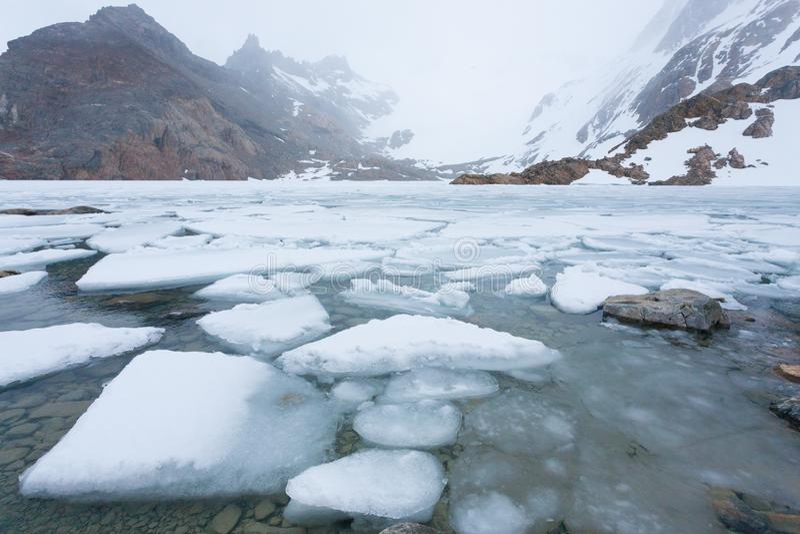 Laguna de Los Tres sikt, Fitz Roy berg, Patagonia royaltyfri fotografi