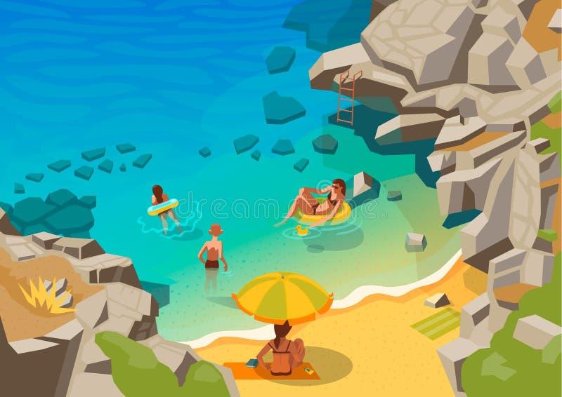 Laguna del mare con una piccola gente di nuoto e della spiaggia