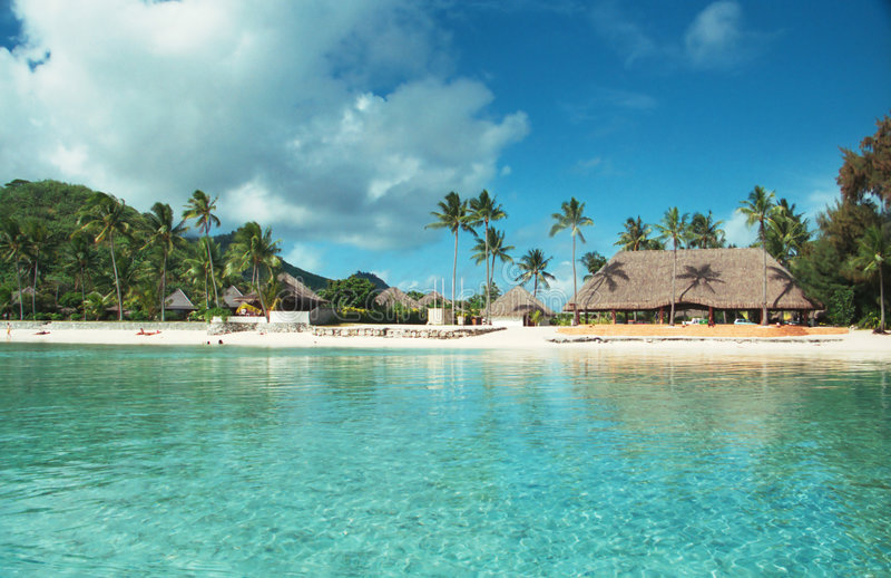 Laguna di Bora Bora, Polinesia francese fotografie stock