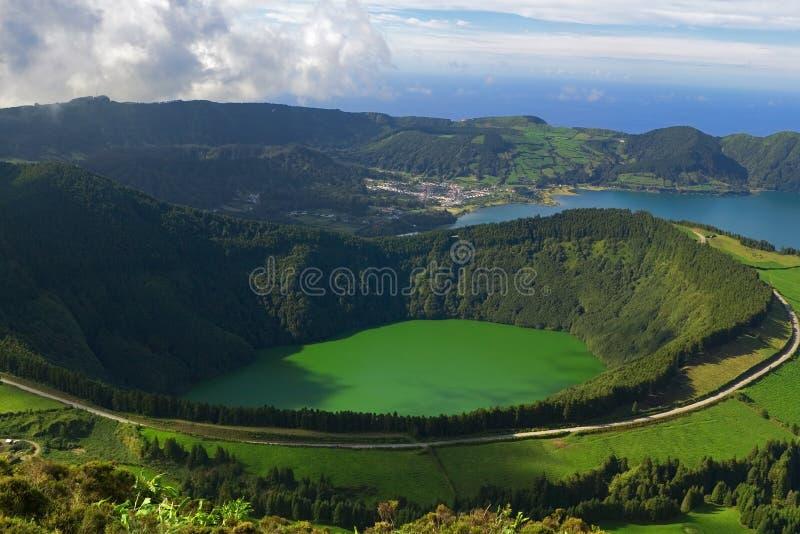 Laguna di Santiago, Sete Cidades, San Miguel, Azzorre immagine stock libera da diritti