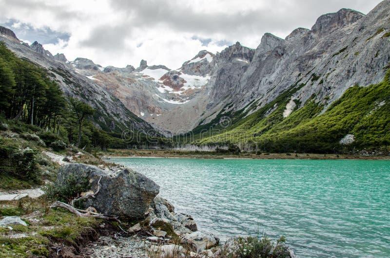 Laguna Esmeralda in Tierra del Fuego near Ushuaia, Patagonia, Argentina. Beautiful Laguna Esmeralda in Tierra del Fuego national park near Ushuaia, Patagonia stock photo