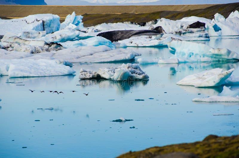 Laguna glacial del hielo del río en Jokulsarlon Islandia foto de archivo libre de regalías