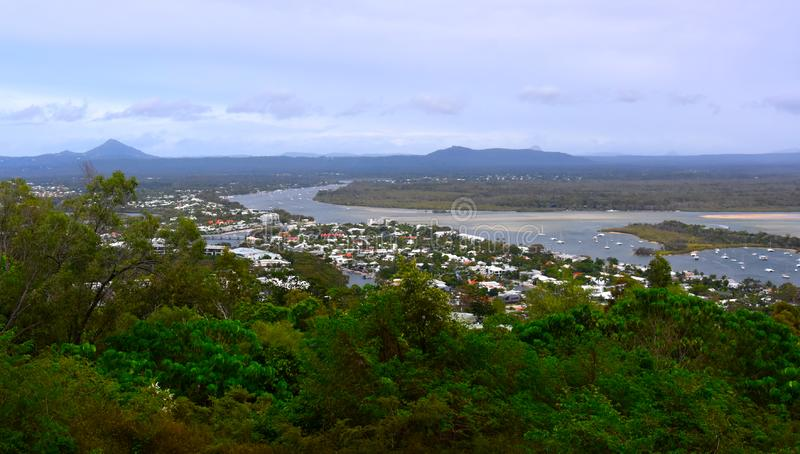 Laguna Lookout offers scenic views over Noosa. In the Sunshine Coast region of Queensland, Australia stock images