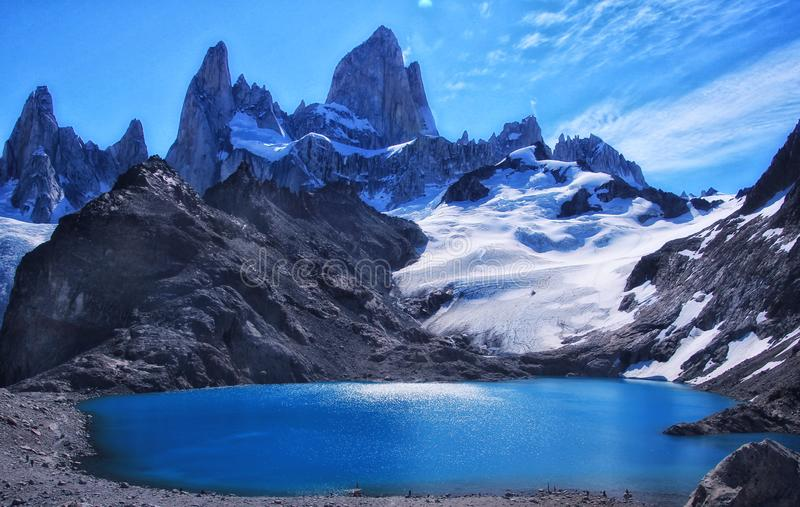 Laguna Los Tress. Turquoise Laguna Los Tress and one on the higest mountain in Patagonia Fitz Roy stock image