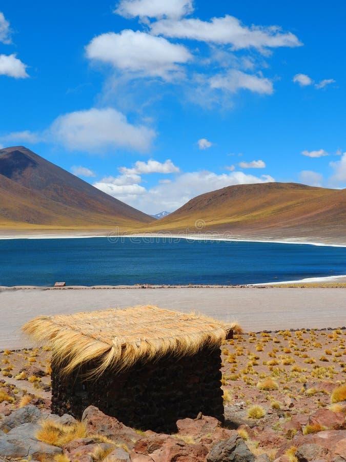 Laguna Miniques, deserto de Atacama fotografia de stock