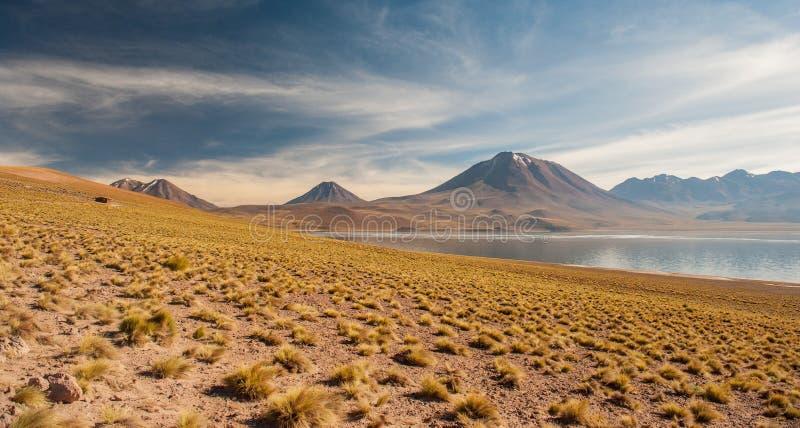 Laguna Miscanti and Laguna Miniquez in Atacama Desert. Salt lagunas and volcanos southern from San Pedro de Atacama. Stunning scen stock photos