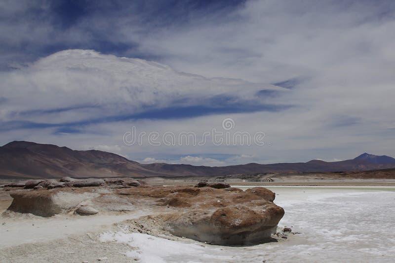 Laguna salada en las montañas de los Andes en el desierto del atakama del chile fotografía de archivo libre de regalías