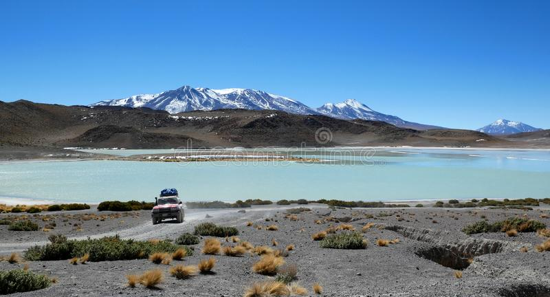 Laguna Verde is a salt lake, in the southwestern Altiplano in Bolivia.  royalty free stock photo