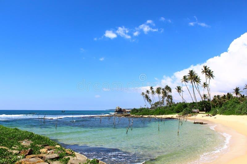 Laguna waar de lokale vissers vissen, Sri Lanka vangen stock foto
