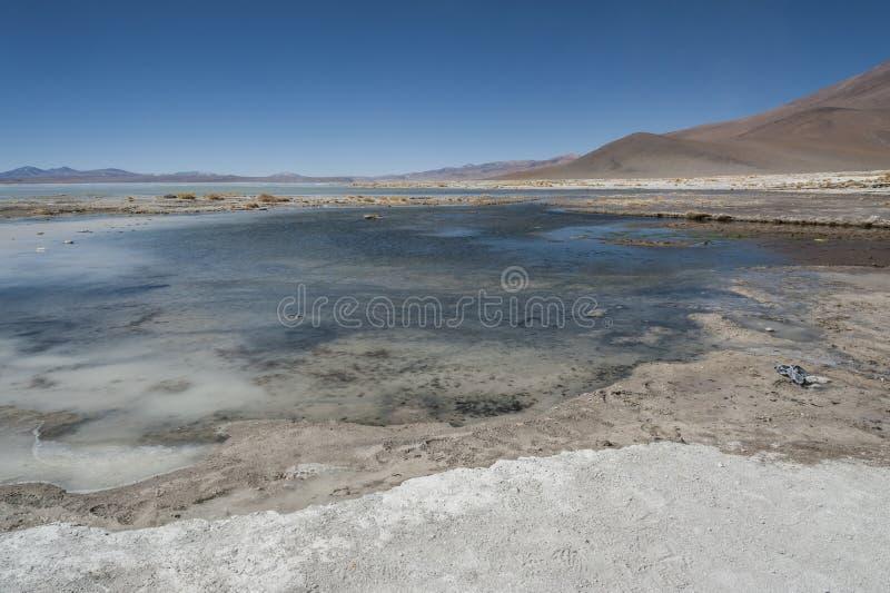 Laguna y Termas de Polques hot spring pool with Salar de Chalviri in background, Salar de Uyuni, Potosi, Bolivia. South America stock photos