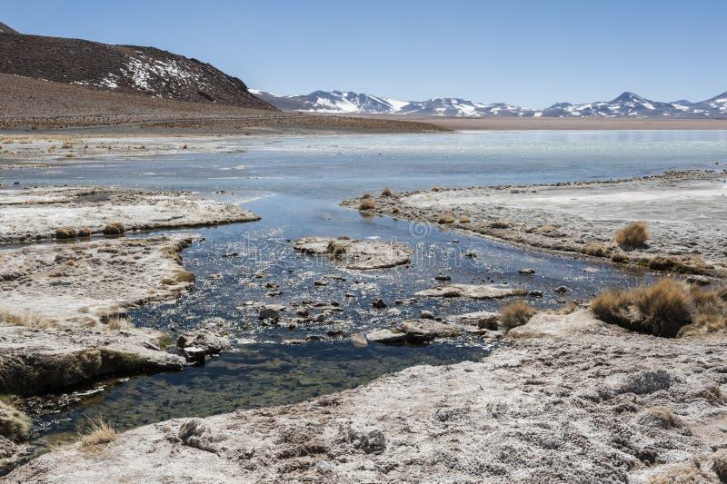 Laguna y Termas de Polques hot spring pool with Salar de Chalviri in background, Salar de Uyuni, Potosi, Bolivia. South America stock images