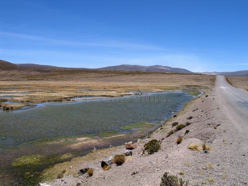 Lagunas blu al passaggio di Patapampa (Perù) fotografia stock