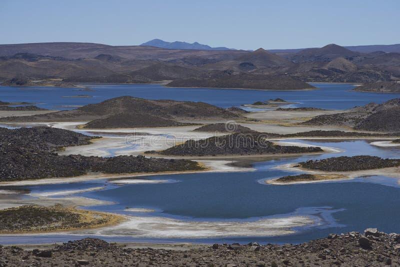 Lagunas de Cotacani en parc national de Lauca image libre de droits