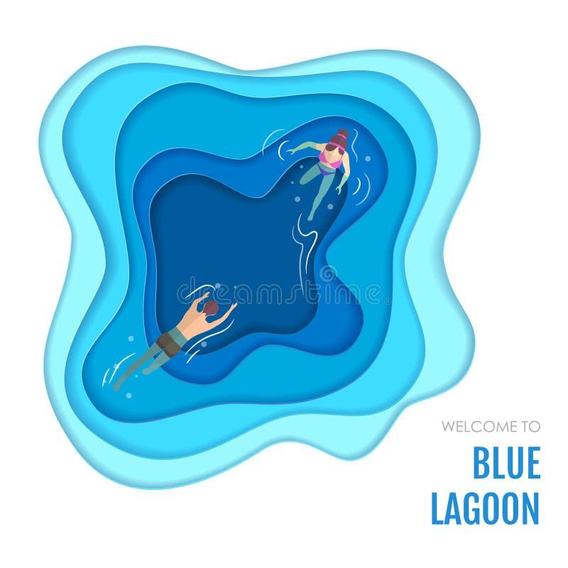 Lagune bleue avec la conception de natation de style d'art de coupe de papier de personnes illustration de vecteur