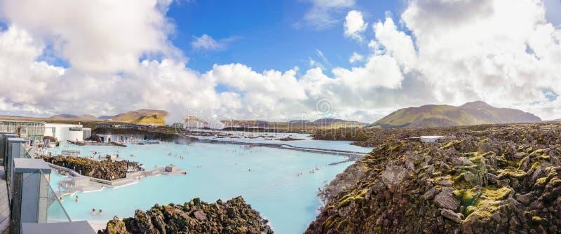 Lagune bleue - station thermale islandaise célèbre et usine géothermique, Islande image libre de droits