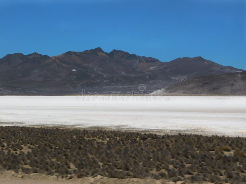 Lagune de sel dans les salines Arequipa image stock