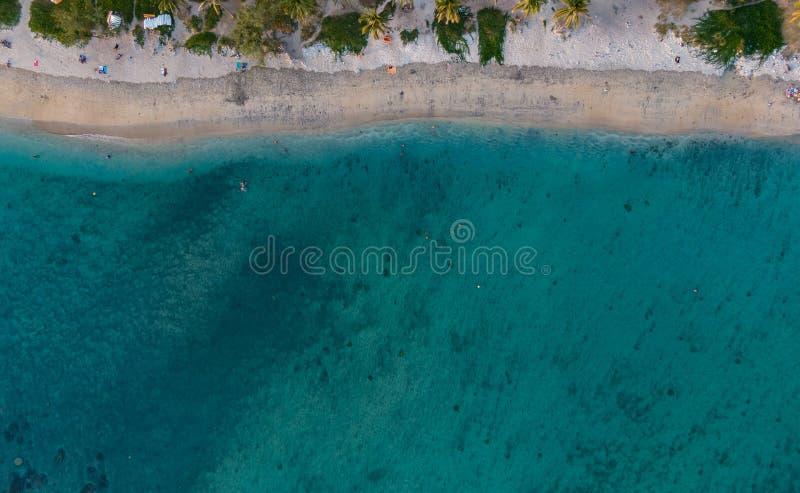 Lagune et plage aux bains salins de les de Reunion Island, nadir image libre de droits