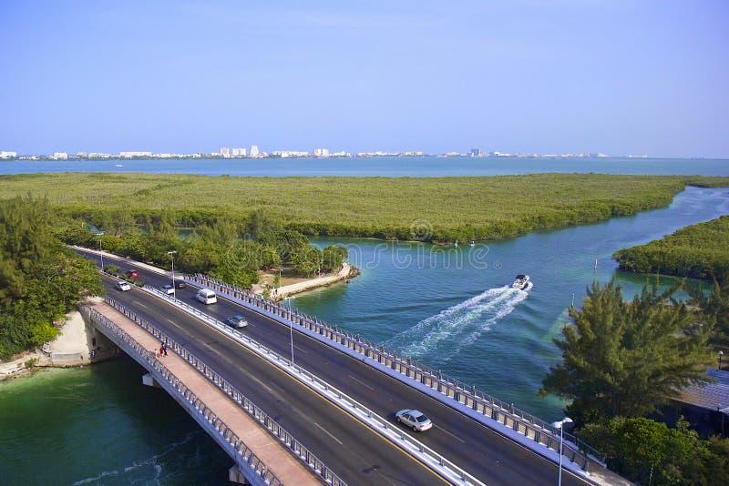 Lagune Quintana Roo , Cancun, Mexico. Bridge in Cancun and lagune Quintana Roo, Mexico stock photography