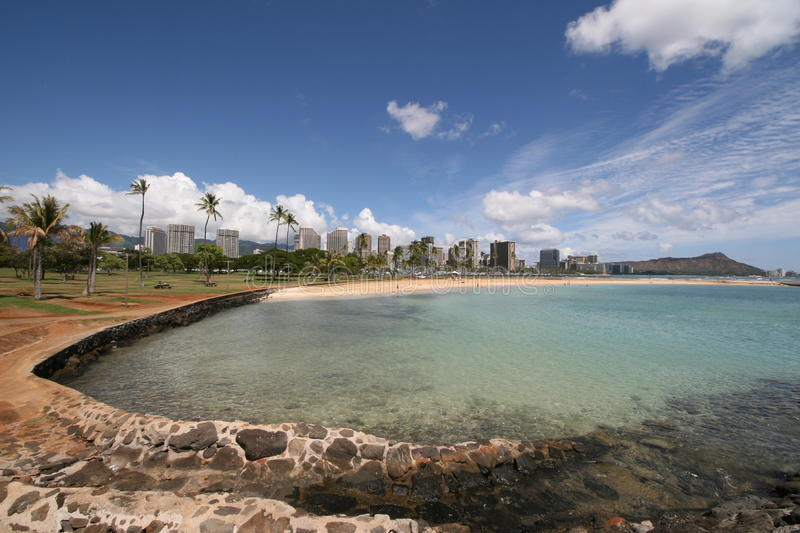 Lagune, Waikiki und Diamond Head stockfoto