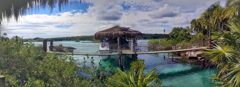 Lagune Xel ha und Unterwassersendegebiet lizenzfreies stockbild
