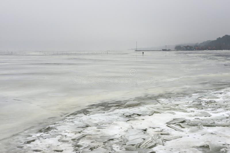 Lagunen- oder Meeresküste gefroren lizenzfreie stockfotografie