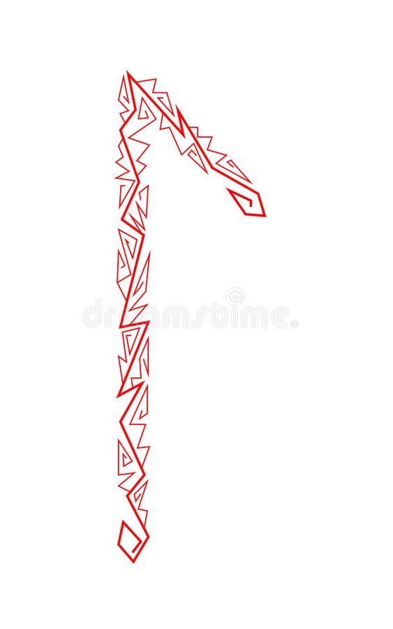 Laguz rune. Ancient Scandinavian runes. Runes senior futarka. Magic, ceremonies, religious symbols. Predictions and amulets. White background and red ornament vector illustration