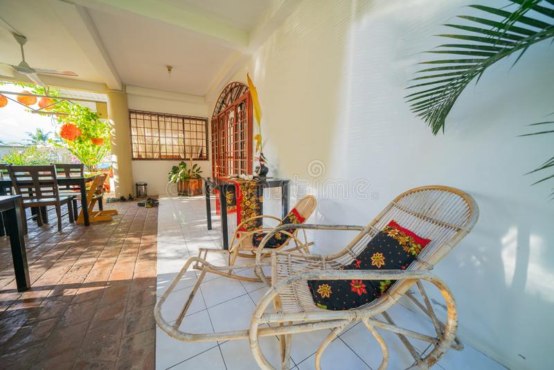 Tropical interior home design. LAHAD DATU BORNEO - MAY 19 2019; Stylish tropical interior home design, Bike and Tours Bed and breakfast stock images