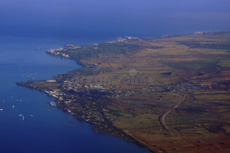 Lahaina和周围的海岸线天线  库存照片